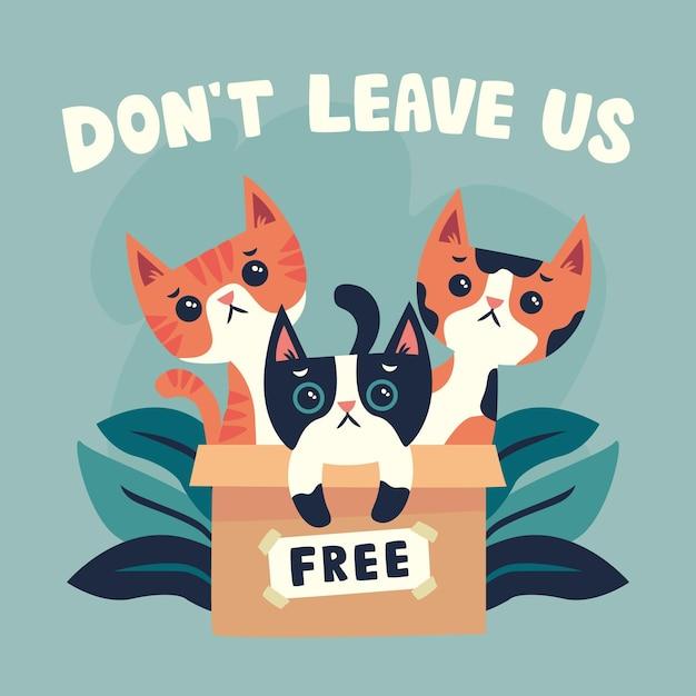 고양이와 함께 그림 뒤에 애완 동물을 두지 마십시오 무료 벡터