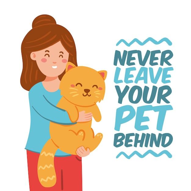 Non lasciare mai il tuo animale domestico dietro un design piatto Vettore gratuito