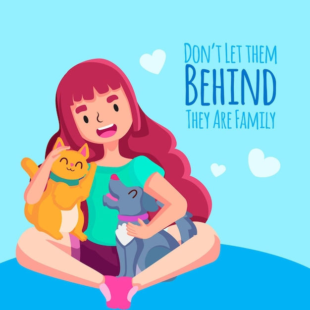 Never leave your pet behind woman character Free Vector