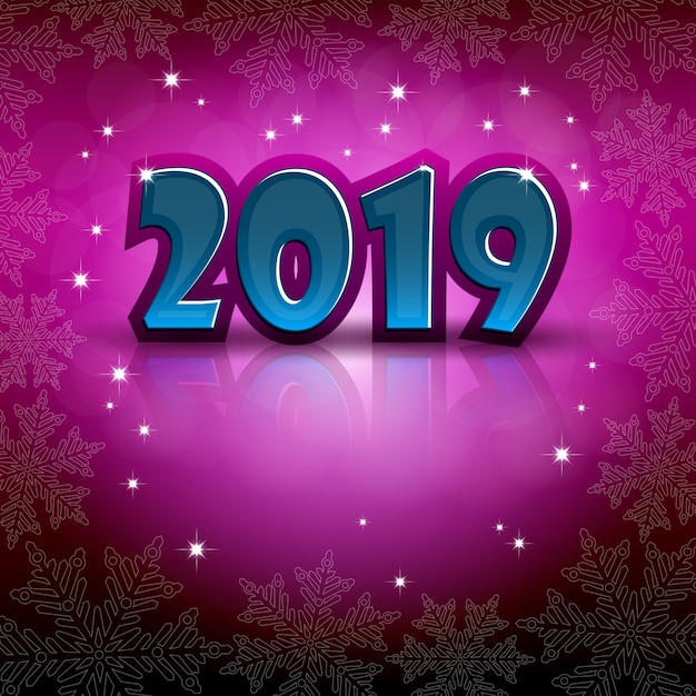 New 2019 year greeting on a pink background Premium Vector