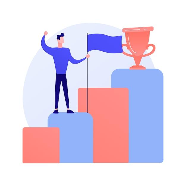 New achievement. business development. successful businessman, confident entrepreneur, winner with flag. man standing on rising arrow. Free Vector