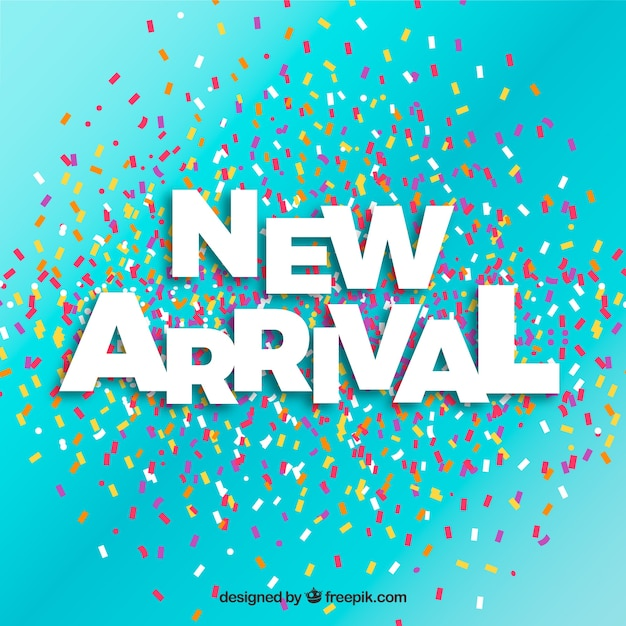 New arrival background with confetti Free Vector