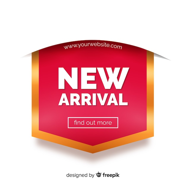 New arrival background with typography Free Vector