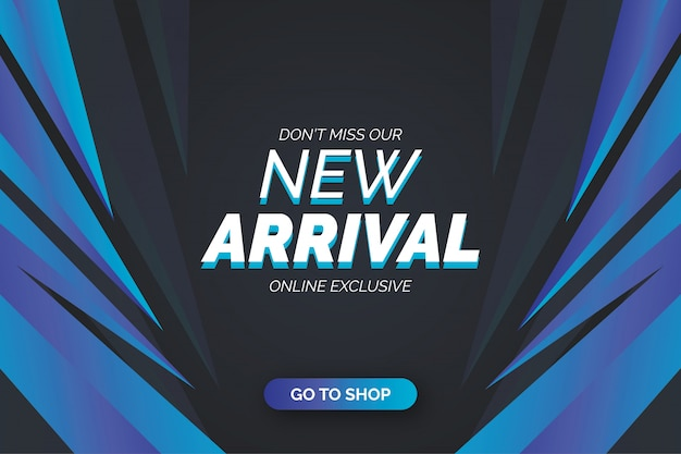 New arrival banner template with blue shapes Free Vector