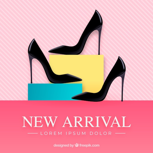 Новая композиция прибытия с реалистичными каблуками Бесплатные векторы
