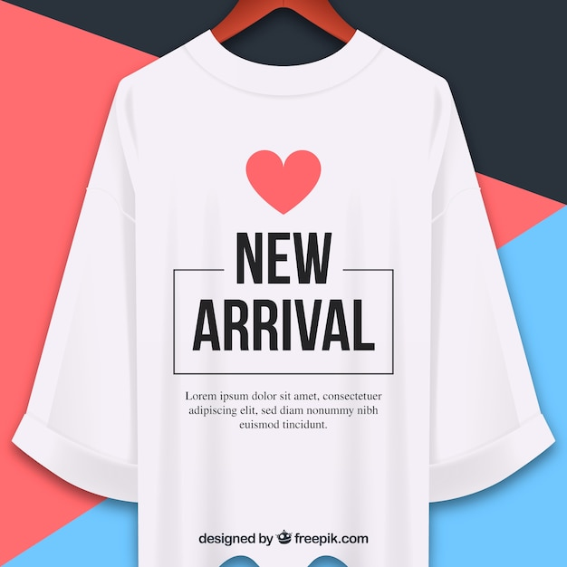 New arrival composition with realistic t-shirt Free Vector