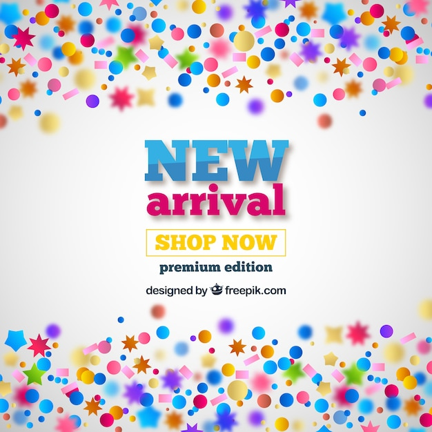 New arrival concept background with confetti Free Vector