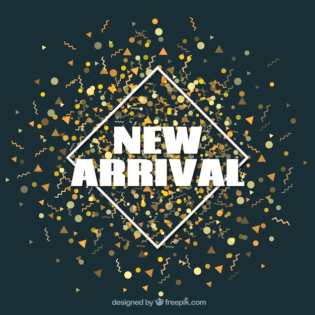 New arrival concept background with golden confetti Free Vector