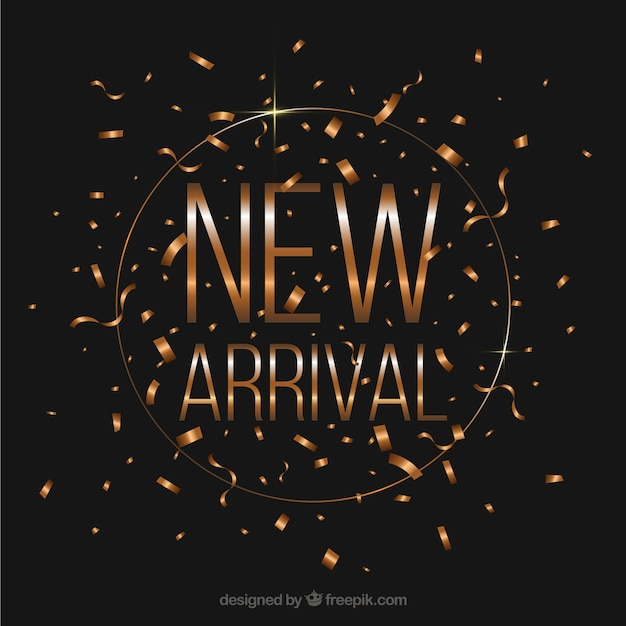 New arrival design with golden confetti concept Free Vector