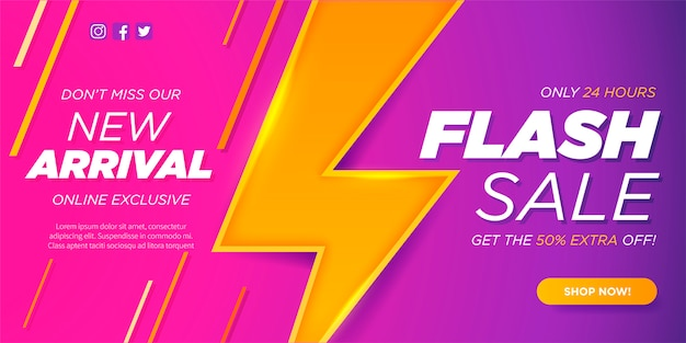 New arrival and flash sale banner template Free Vector