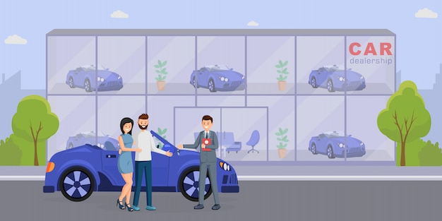 New automobile purchase flat vector illustration Premium Vector