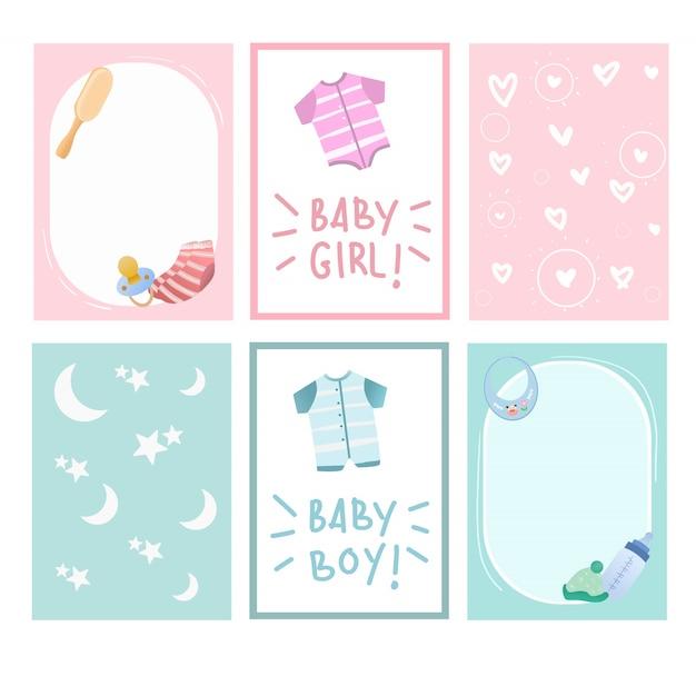 生まれたばかりの赤ちゃんとベビーシャワーのかわいいカードデザインベクトルコレクション。 Premiumベクター