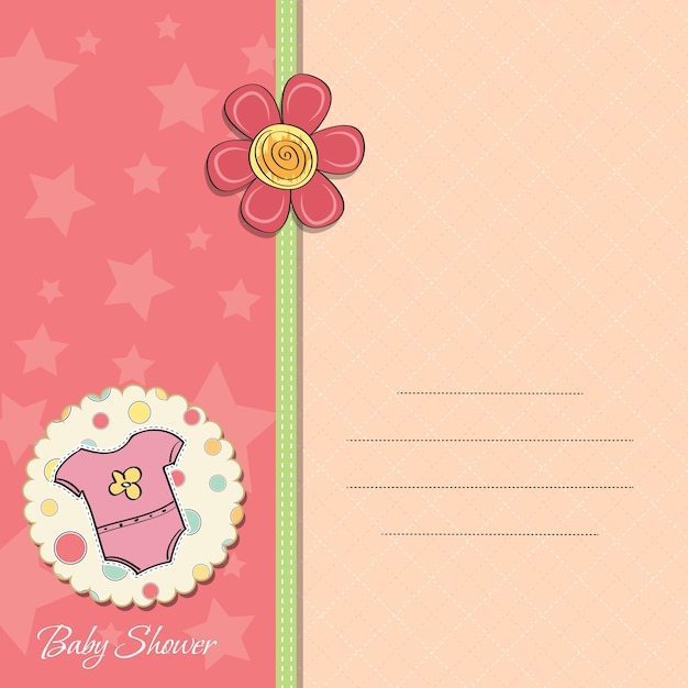 New baby girl announcement card Premium Vector