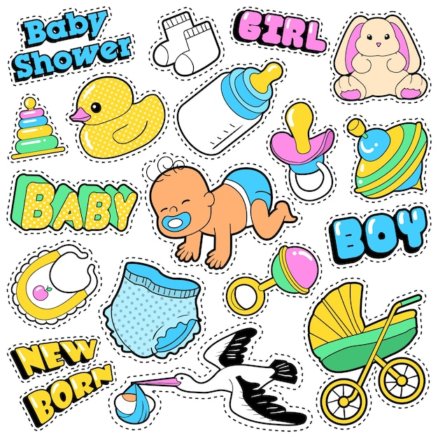 New born baby stickers, patches, badges scrapbook baby shower decoration set with stork and toys.  doodle comic style Premium Vector