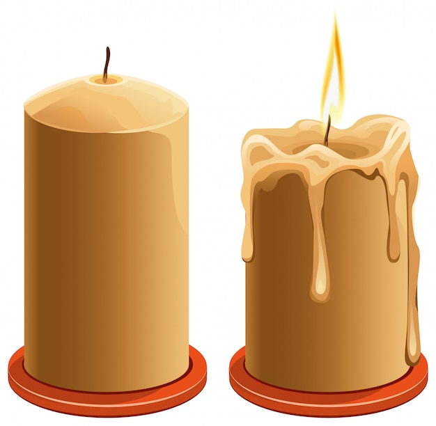 New and burning wax candle Premium Vector