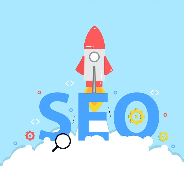 New business project, startup rocket, concept of seo search engine optimization Premium Vector