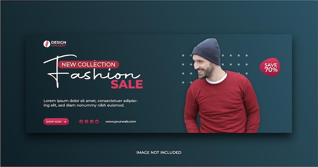 New collection fashion sale banner social media cover ad template Premium Vector