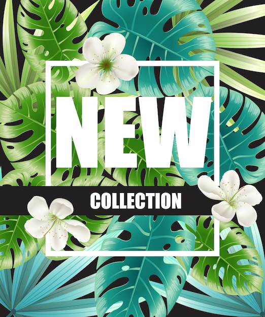 New collection green poster design with blossoms and tropical leaves in background Free Vector