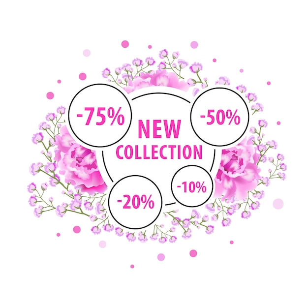New collection label design with pink flowers, dots and discount stickers. Free Vector