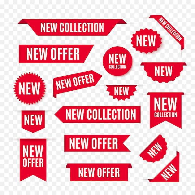Новая коллекция предложение теги и этикетки. Premium векторы