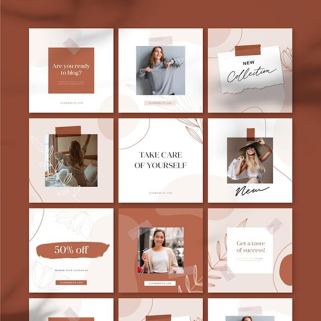 Новая коллекция распродажи в instagram Бесплатные векторы
