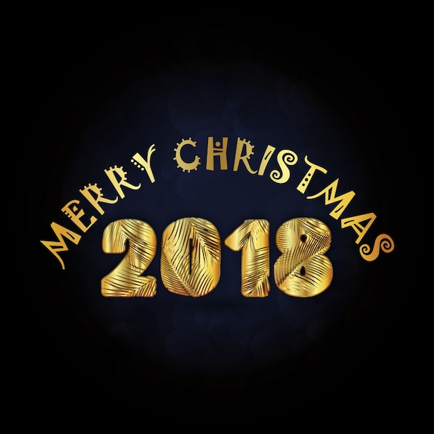New Creative Merry Christmas 2018 Typography In Golden Color On