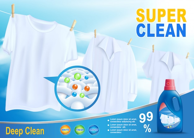 New detergent for super clean washing promo Premium Vector