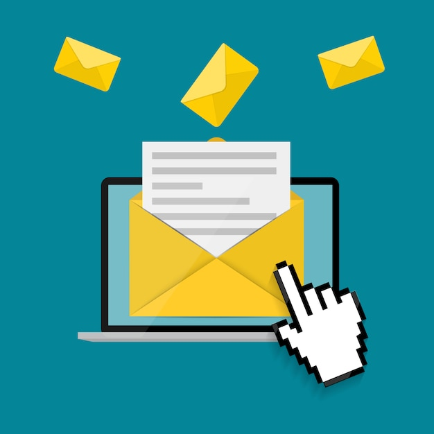 New email on the laptop screen notification concept.  illustration Premium Vector