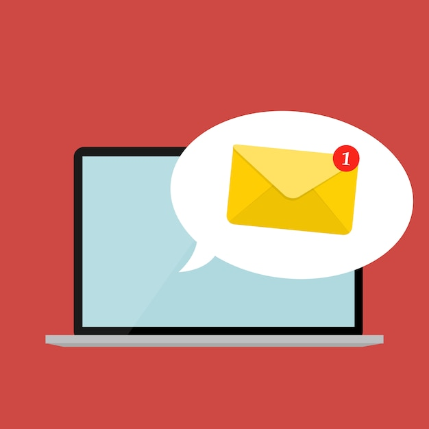 New email on the laptop screen notification concept. vector illustration Premium Vector