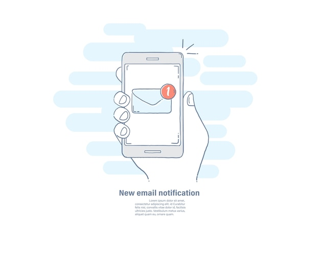 New email notification on smart phone. Premium Vector