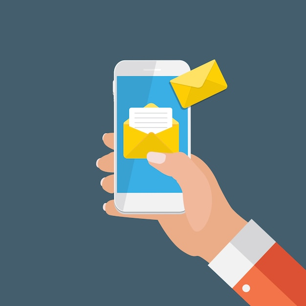 New email on the smartphone screen notification concept. vector illustration Premium Vector