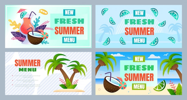 新しい新鮮な夏のメニュー広告バナーセット Premiumベクター