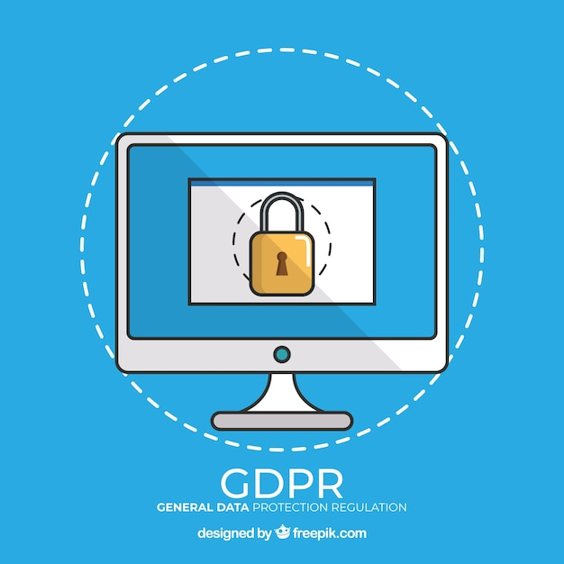 New gdpr concept with hand drawn computer Free Vector