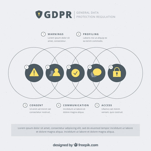 New gdpr concept with infographic design Free Vector