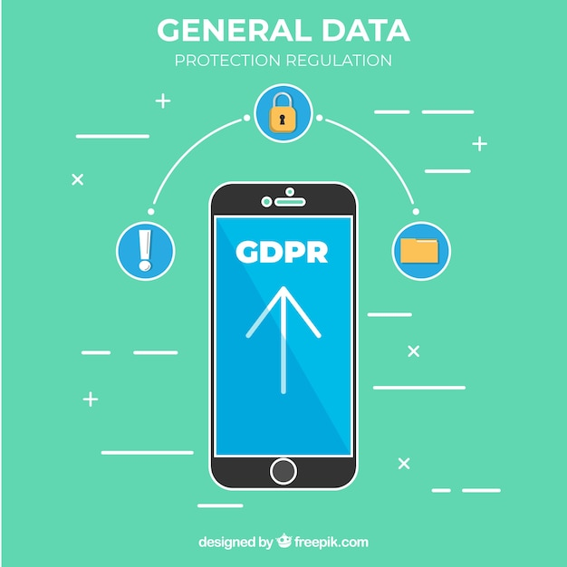 New gdpr concept with smartphone Free Vector