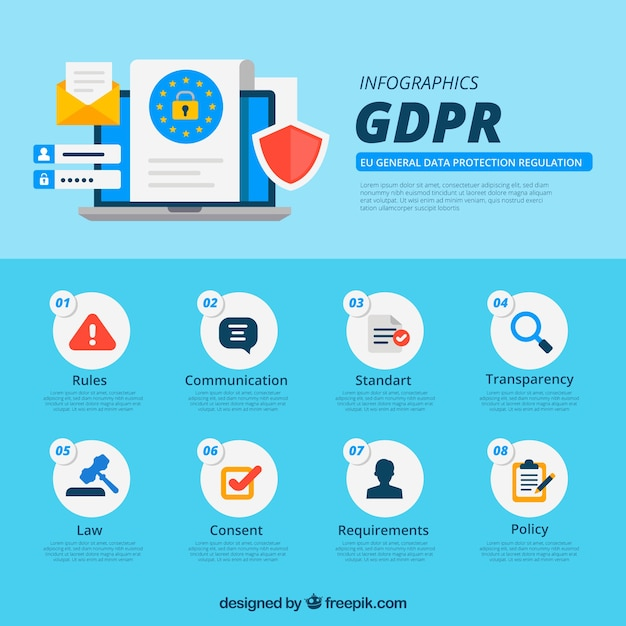 New gdpr infographic with flat design Free Vector