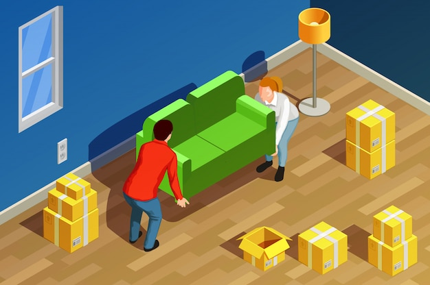 New home isometric composition Free Vector