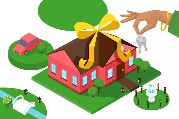 New home keys, isometric presentation. geometric house, car and lawn, real estate advertisement campaign. bank loan for new house purchase, hand holding keys Premium Vector