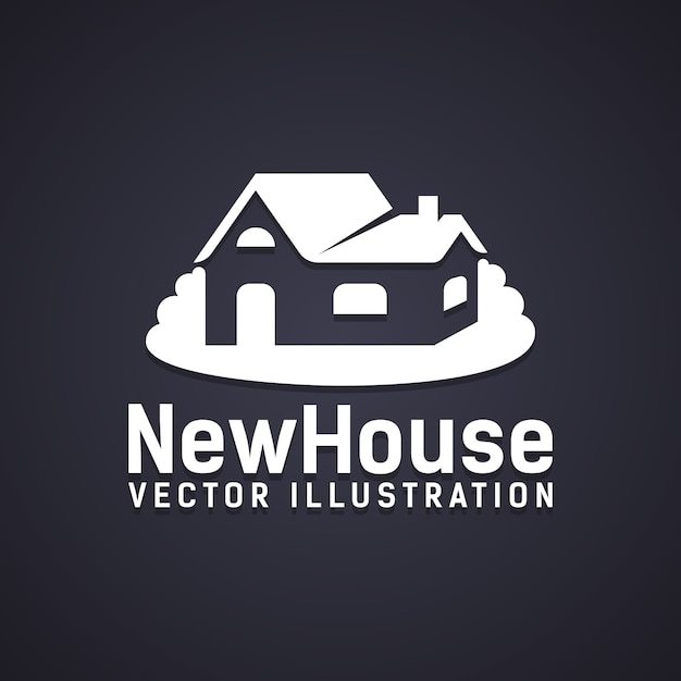 아래 텍스트가있는 새 집 아이콘-새 집 벡터 일러스트 레이 션-부동산 구매 소유권 또는 새 빌드 건설을 묘사 무료 벡터