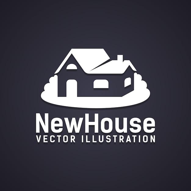 Icona nuova casa con testo sotto - illustrazione vettoriale nuova casa - raffigurante una proprietà di acquisto di proprietà o una costruzione di nuova costruzione Vettore gratuito