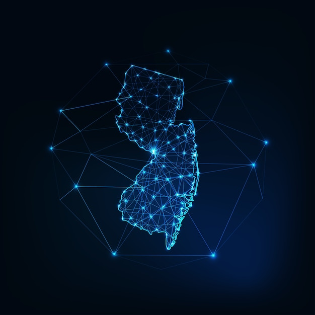 New jersey state usa map glowing silhouette outline made of stars lines dots triangles Premium Vector
