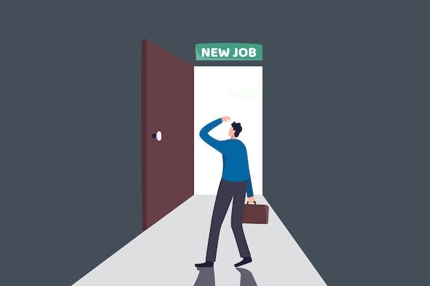 新しい仕事への挑戦、仕事やキャリア開発の概念における新しい機会の決定を下す Premiumベクター