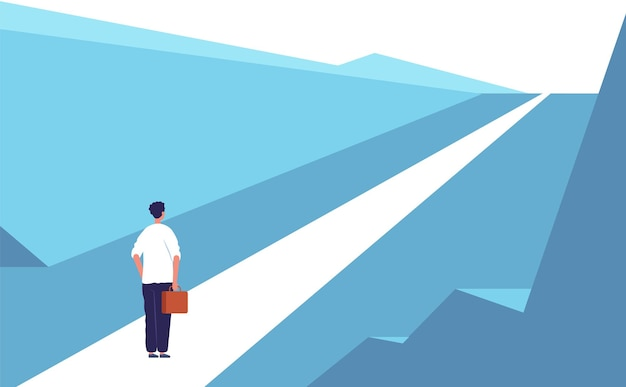 새로운 여행 개념. 고속도로로 추상적 인 사람 서 야외 비즈니스 기회 프리미엄 벡터