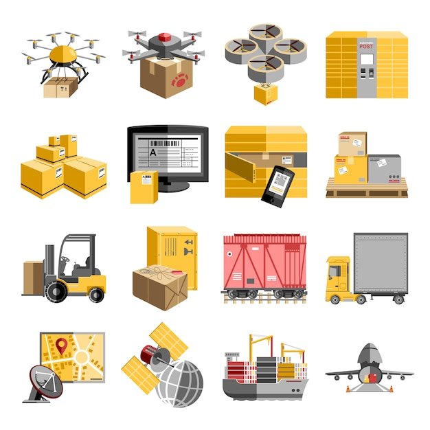 New logistics unmanned decentralized delivery systems flat pictograms collection with flying drone Free Vector