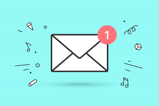 New mail envelope with red marker one message | Premium Vector