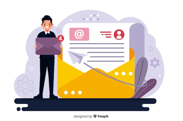 New message concept for landing page template Free Vector