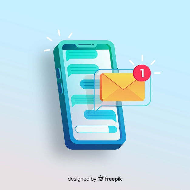 New message concept for landing page Free Vector