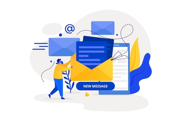 New message landing page concept Free Vector