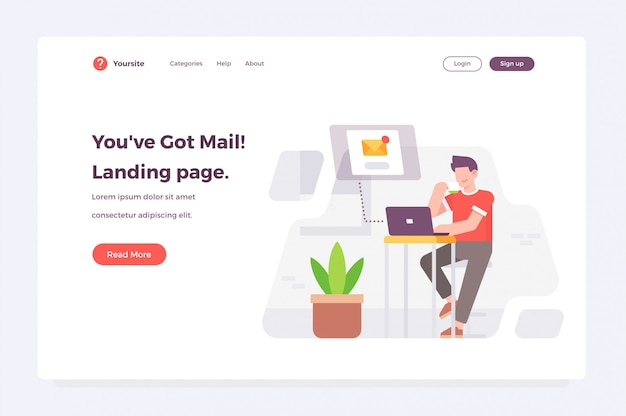 New message received landing page web template Premium Vector