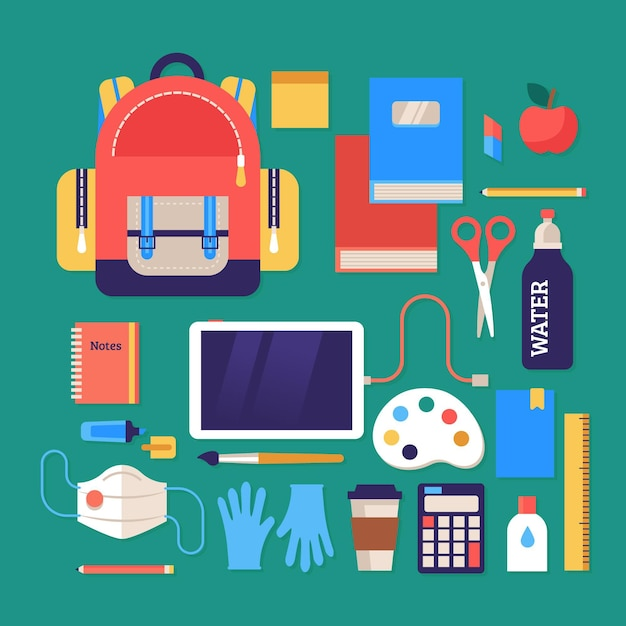 New normal back to school supplies Free Vector